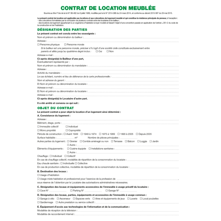 Contrat de location locaux meubl s exacompta 51e ask - Contrat de location meuble type ...